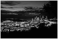 City skyline and Qwest Field at night. Seattle, Washington ( black and white)