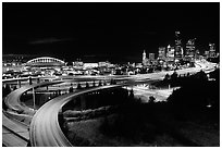Freeway, stadium, and skyline at night. Seattle, Washington (black and white)