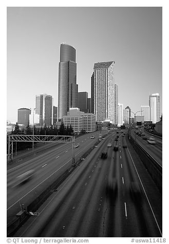 Freeway and downtown skyline, early morning. Seattle, Washington (black and white)