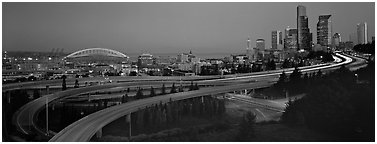 Seattle cityscape with highways at dawn. Seattle, Washington (Panoramic black and white)