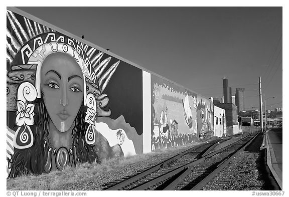 Mural and railroad tracks. Seattle, Washington (black and white)