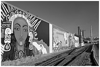 Mural and railroad tracks. Seattle, Washington ( black and white)