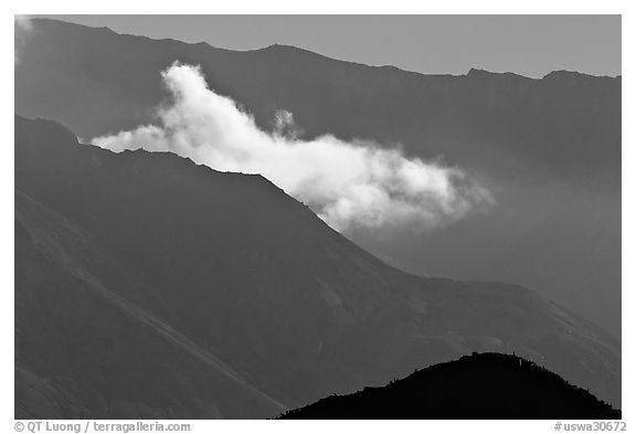 Fumerole cloud over the crater,. Mount St Helens National Volcanic Monument, Washington (black and white)
