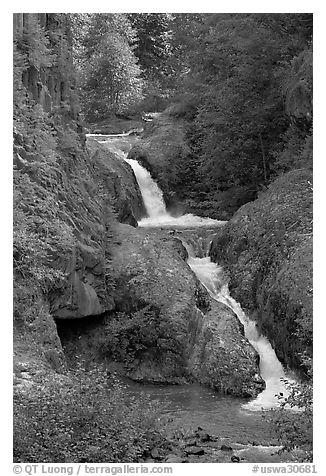 Muddy River cascades in Lava Canyon. Mount St Helens National Volcanic Monument, Washington (black and white)