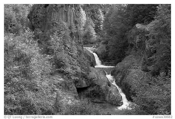 Muddy River spills over basalt falls in Lava Canyon. Mount St Helens National Volcanic Monument, Washington (black and white)
