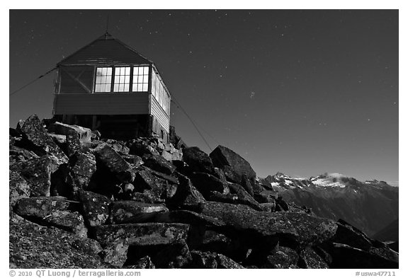 Lookout at night and mountain range, Mount Baker Glacier Snoqualmie National Forest. Washington (black and white)