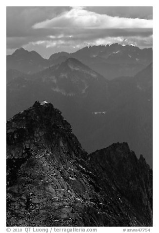 Lookout perched on top of Hidden Lake Peak. Washington (black and white)
