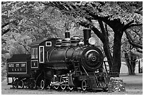 Seattle City Light locomotive, Newhalem. Washington (black and white)
