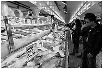 Fish market, Pike Place Market. Seattle, Washington ( black and white)