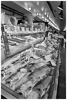 Fishmonger stall in Main Arcade. Seattle, Washington (black and white)