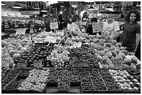 Fruit stall, Main Arcade, Pike Place Market. Seattle, Washington ( black and white)