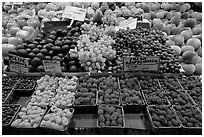 Display of fresh fruit, Pike Place Market. Seattle, Washington ( black and white)
