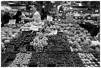 Fruit vending, Pike Place Market. Seattle, Washington (black and white)
