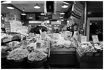 Seafood vending, Pike Place Market. Seattle, Washington ( black and white)