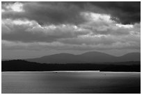 Puget Sound and Olympic Mountains at sunset. Olympic Peninsula, Washington ( black and white)