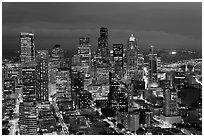 Downtown Seattle by nite. Seattle, Washington ( black and white)