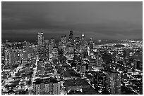 Seattle skyline by night. Seattle, Washington ( black and white)
