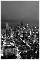 Night skyline. Seattle, Washington ( black and white)