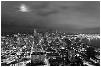 Cityscape with moon. Seattle, Washington ( black and white)