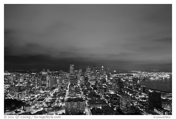 Downtown skyline by night. Seattle, Washington (black and white)