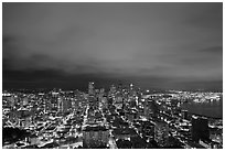 Downtown skyline by night. Seattle, Washington ( black and white)