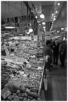 Fruit and vegetable market in Main Arcade, Pike Place Market. Seattle, Washington ( black and white)