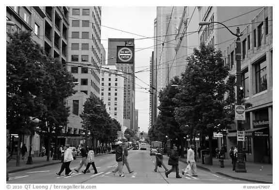 Pedestrian crossing and busses, downtown. Seattle, Washington (black and white)