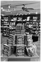 Boxes of Aplets and Cotlets in factory store, Cashmere. Washington (black and white)