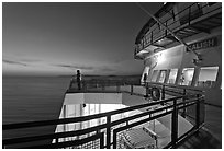 Port Townsend Coupeville Ferry upper deck at dusk. Olympic Peninsula, Washington (black and white)