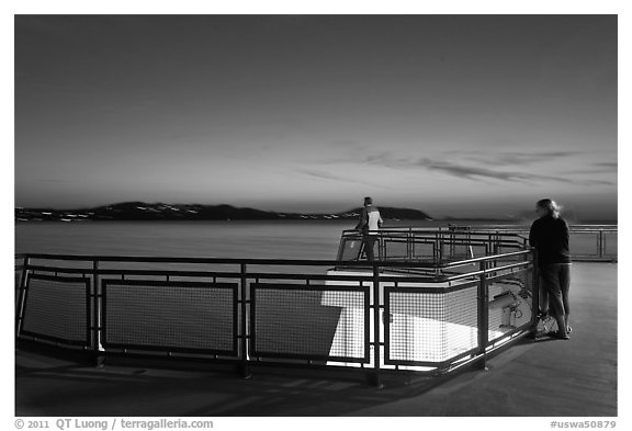 Ferry deck, landscape with motion blur at dusk. Olympic Peninsula, Washington (black and white)