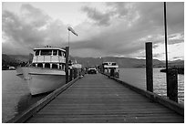 Deck with Lady of the Lake II ferry, Chelan. Washington ( black and white)