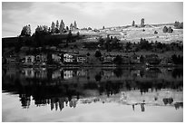 Houses reflected in Lake Chelan. Washington ( black and white)