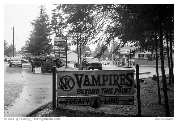 No Vampires sign near Forks. Olympic Peninsula, Washington (black and white)