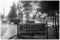 No Vampires sign near Forks. Olympic Peninsula, Washington ( black and white)