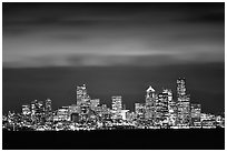 Seattle skyline at light from Puget Sound. Seattle, Washington ( black and white)