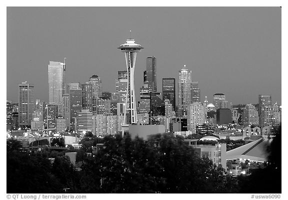 Seattle skyline at dusk. Seattle, Washington (black and white)