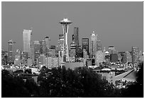 Seattle skyline at dusk. Seattle, Washington ( black and white)