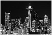 Seattle skyline at night with the Needle. Seattle, Washington ( black and white)