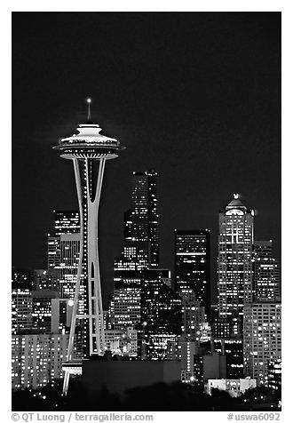 Seattle skyline at night with the Needle. Seattle, Washington (black and white)