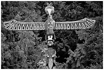 Totem Pole carved by native tribes, Olympic Peninsula. Olympic Peninsula, Washington ( black and white)