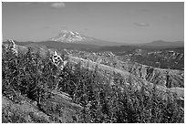 View over Cascade range with Snowy volcano. Mount St Helens National Volcanic Monument, Washington ( black and white)
