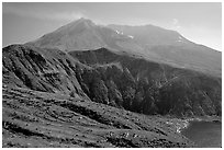 View of the crater. Mount St Helens National Volcanic Monument, Washington (black and white)