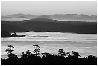Lopez Island and mainland mountains from Cattle Point, San Juan Island. Washington ( black and white)