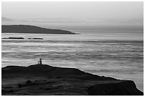 Cattle Point Lighthouse at dawn, San Juan Island. Washington ( black and white)