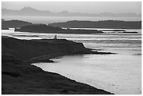 Cattle Point and Lighthouse at dawn, San Juan Island. Washington ( black and white)