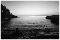 Cove near Iceberg Point at sunset, Lopez Island. Washington ( black and white)