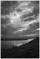 Columbia River at sunset, Wahluke Unit, Hanford Reach National Monument. Washington ( black and white)