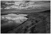 Columbia River and White Bluffs at sunset, Wahluke Unit, Hanford Reach National Monument. Washington ( black and white)