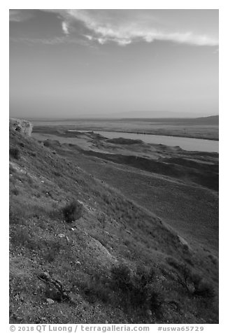 Columbia River from White Bluffs Overlook, Wahluke Unit, Hanford Reach National Monument. Washington (black and white)