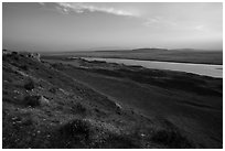 Shrub-steppe terrain and Columbia River, Wahluke Unit, Hanford Reach National Monument. Washington ( black and white)